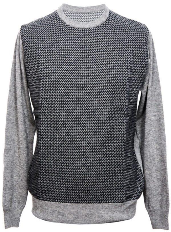 Girocollo pura lana extrafine con jacquard